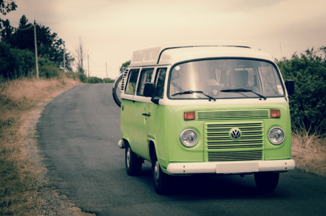 a green van on the road