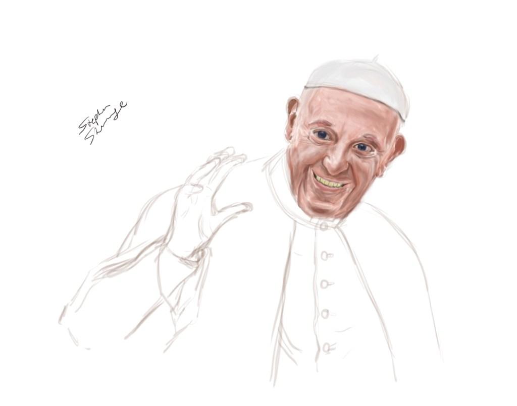 Pope Francis digital painting, work in progress.