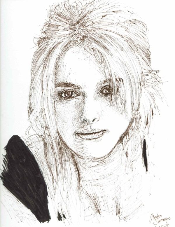 Ink portrait of Keira Knightley