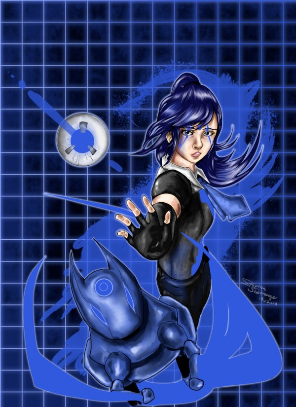 Anima Blue Character Illustration by Stephen Sherrange