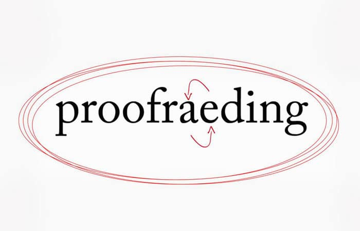 proofreading misspelled to proofraeding