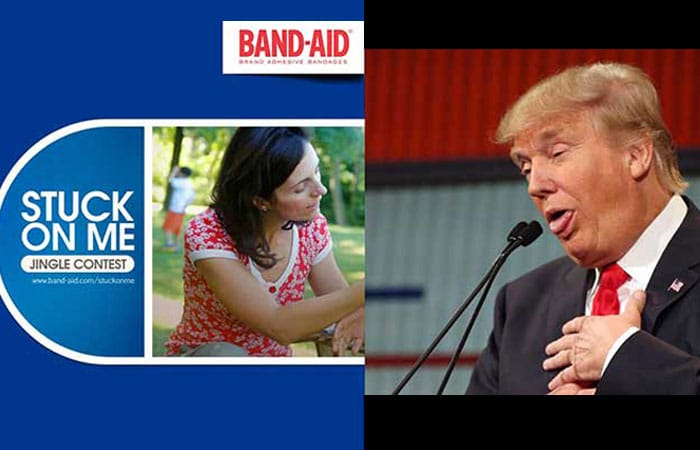 Band Aid marketing Stuck on me jingle contest and Donald Trump making a face