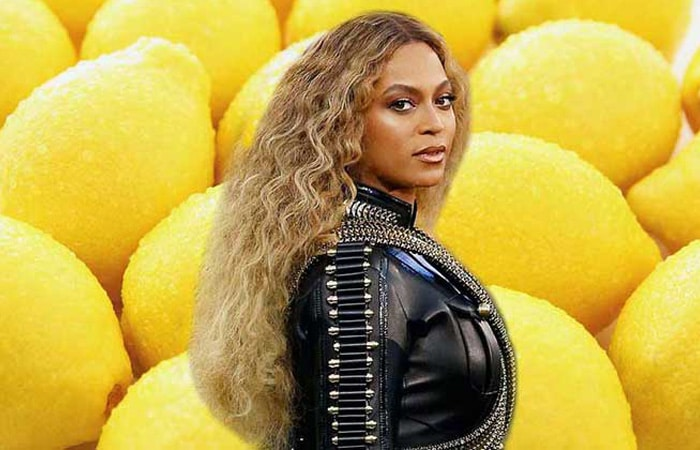 Beyonce with lemons background