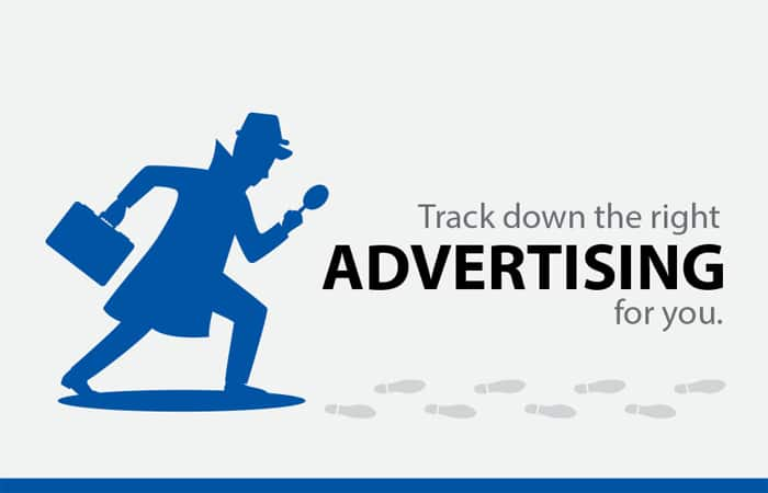 Investigator silhouette tracking down the right advertising for you