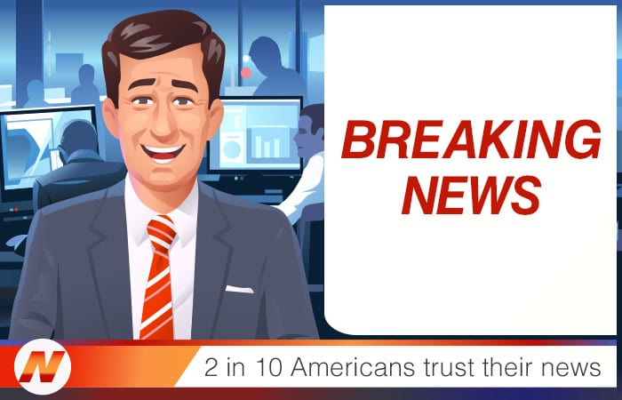 illustrated anchorman with breaking news