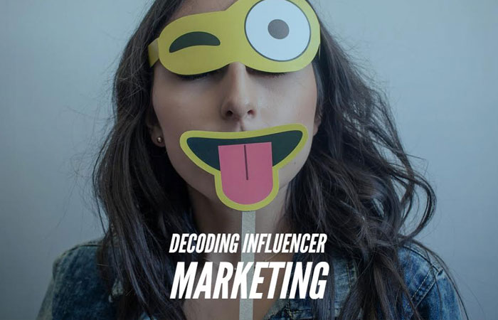 girl with silly face props and the text decoding influencer marketing