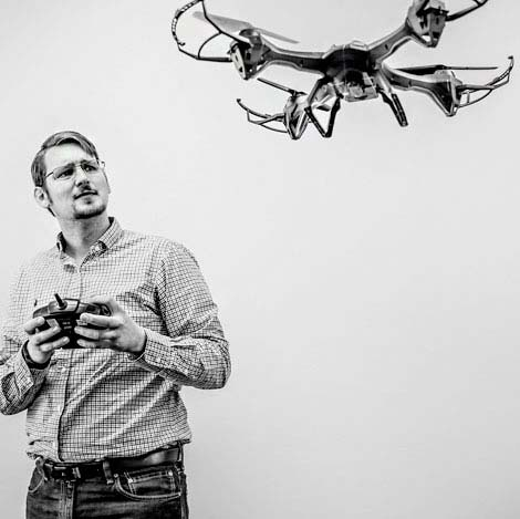Kyle Hines flying a drone