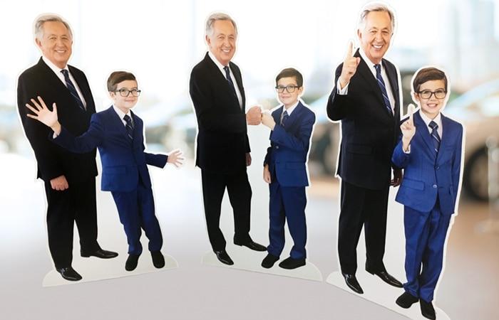 Bob Stallings Hyundai cutouts of Big Bob and Little Bob