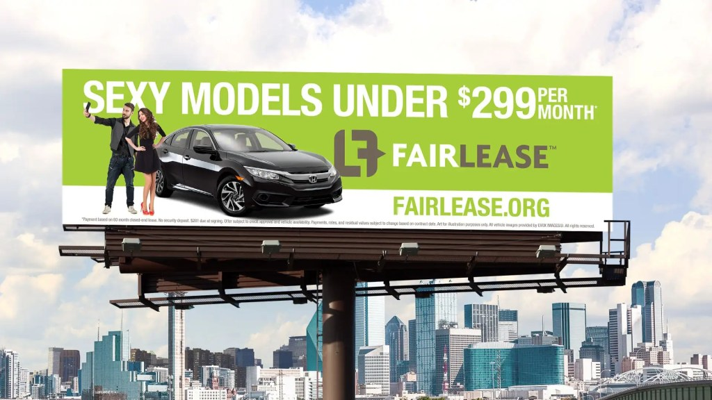 Sexy Models at FairLease for cars billboard