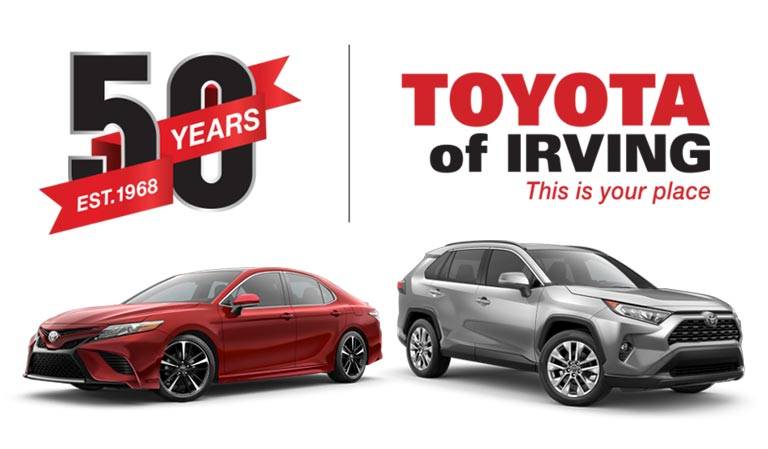Toyota Of Irving logo with two vehicles