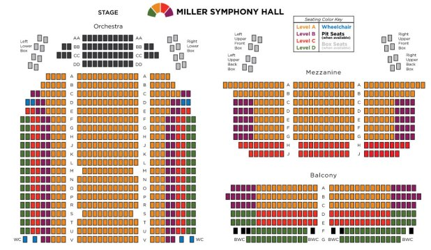 Newark Hall Seating Symphony Chart