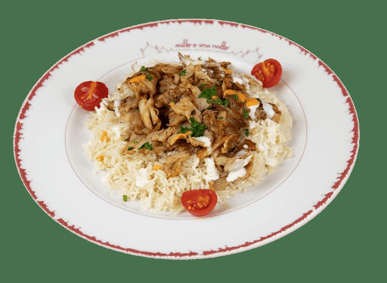 Riso con shawarma (kebab)