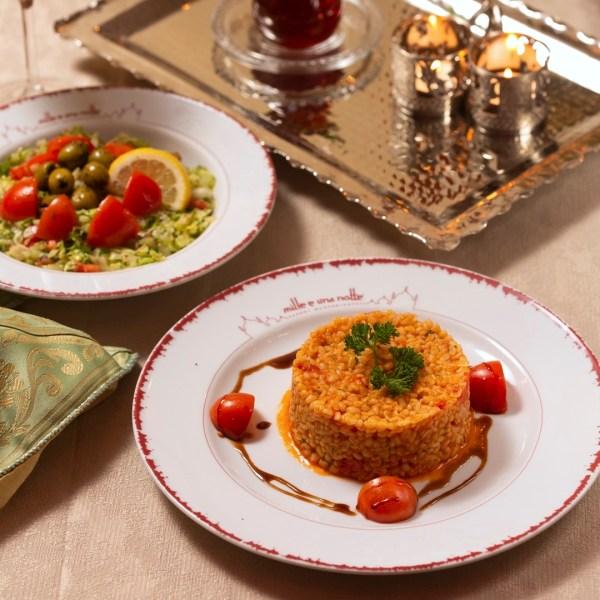 Burghul al pomodoro con insalata Fattoush