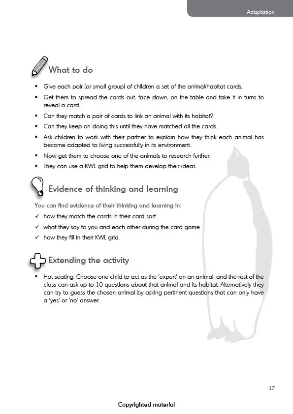 Teaching evolution in primary schools - Activity 1 (cont.)