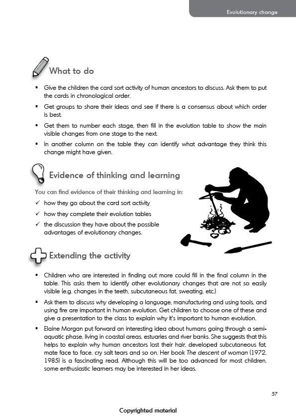 Teaching evolution in primary schools - Activity 5 (cont)