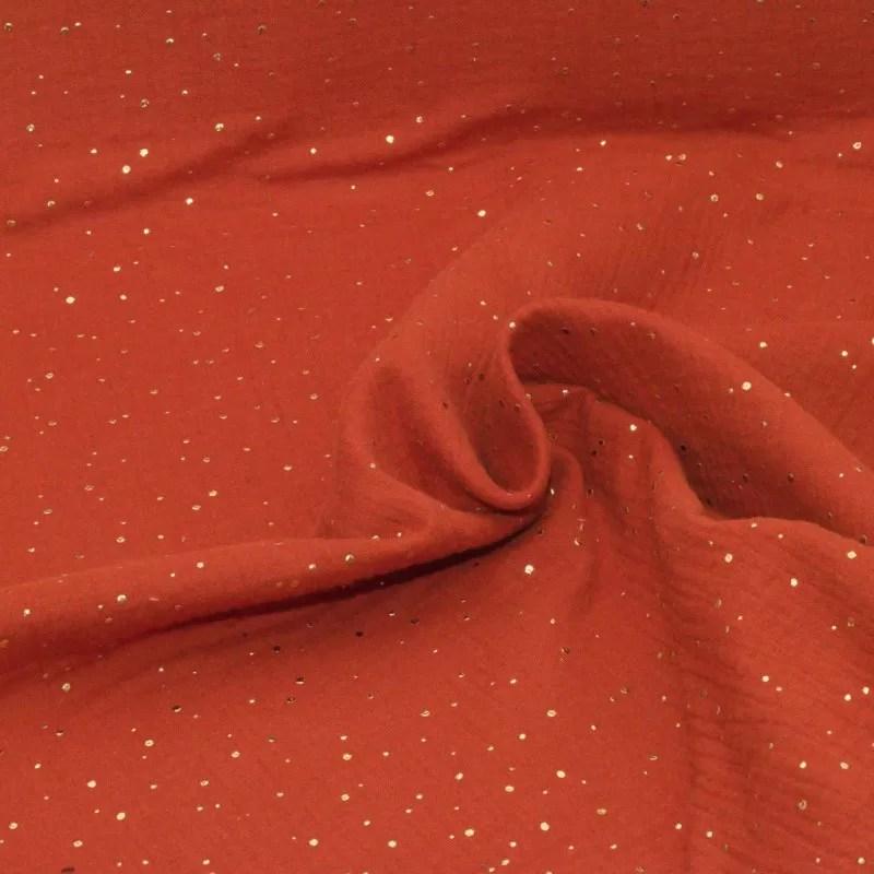 tissu double gaze coton pois dores