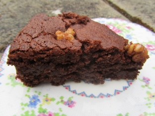 Freshly milled chocolate and walnut cake