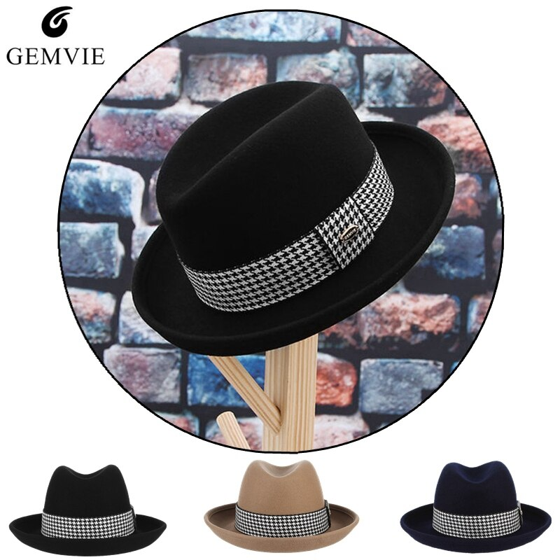 Fedora Hats Unisex British Style 100/% Wool Vintage Curved Brim with Feather Fashion Billycock