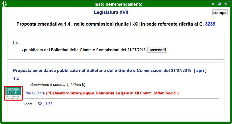 Intergruppo Cannabis Legale: Emendamento 1.4 alla Propoposta di Legge sulla Legalizzazione
