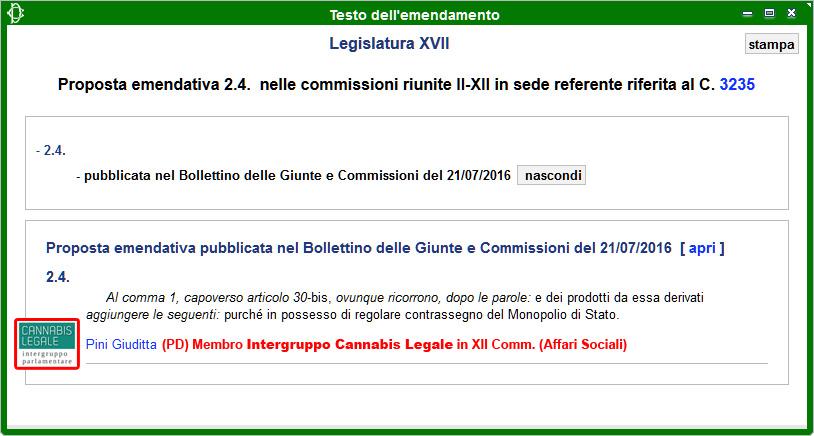 Intergruppo Cannabis Legale: Emendamento 2.4 alla Propoposta di Legge sulla Legalizzazione