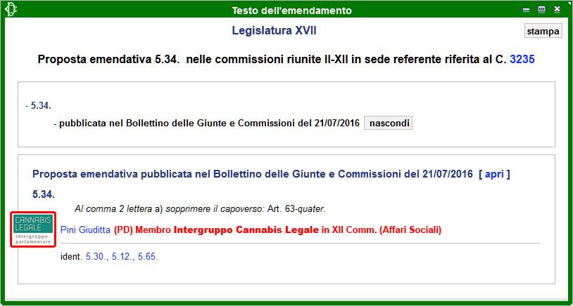 Intergruppo Cannabis Legale: Emendamento 5.34 alla Propoposta di Legge sulla Legalizzazione