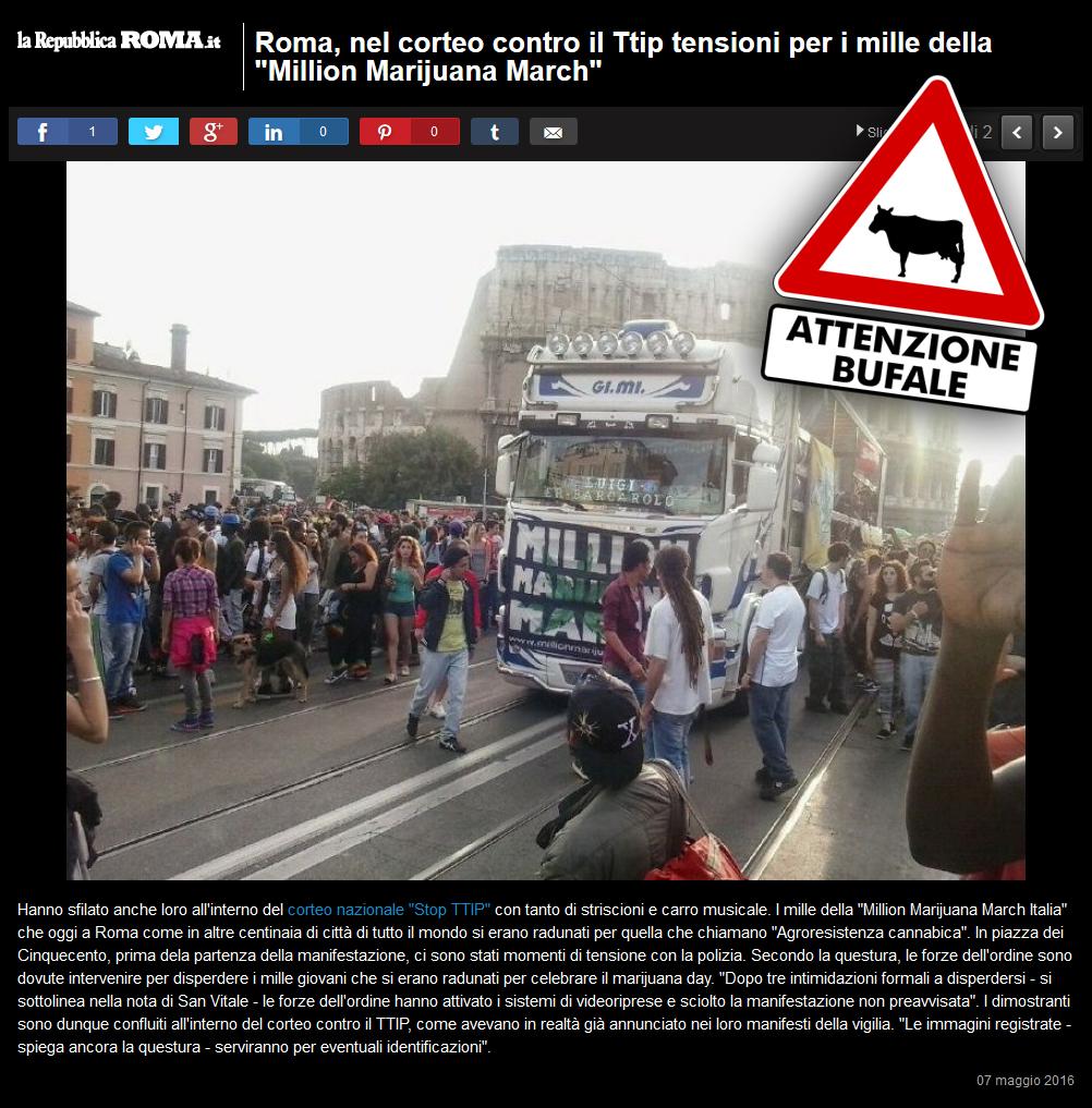 Million Marijuana March 2016: bufala sul sito Roma.Repubblica.it