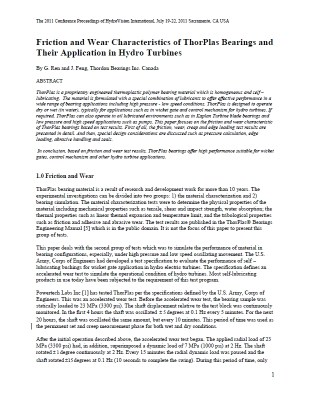 Research_H - WGB - Friction and Wear Characterisitics of ThorPlas Bearings