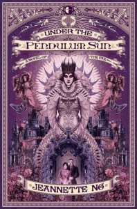 Cover of Under the Pendulum Sun by Jeannette Ng. Purple cover with Queen Mab central.