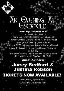 An Evening at Escafeld: Justina Robson and Jacey Bedford Authors, May 26th, The Old Queens Head, Sheffield.