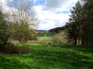 Green hills and fields of Shropshire as viewed from the rear of Arvon's The Hurst.