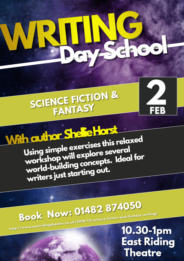 Poster for Writing Day School at East Riding Theatre, Feb 2nd 10.30 til 1pm.