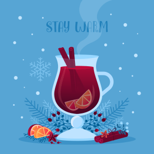 Reconnecting. An Illustration of mulled wine in a glass with cinamon sticks on a blue background