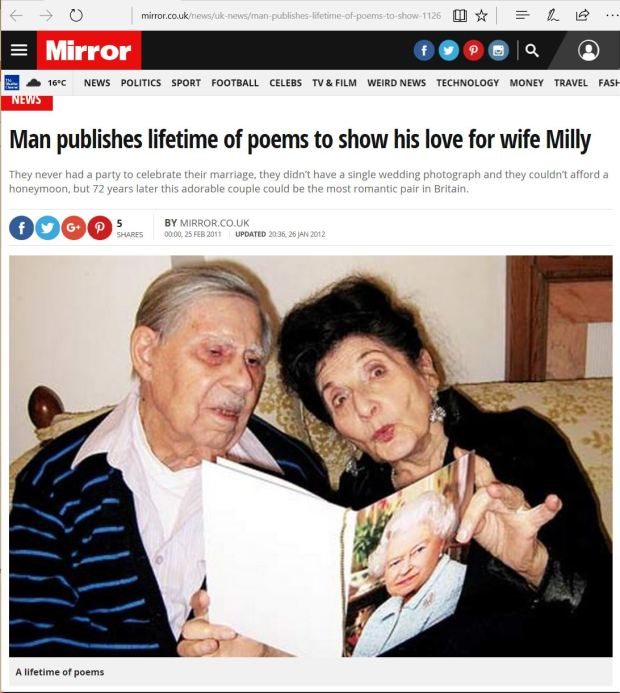 Man publishes lifetime of poems to show his love for wife Milly Rich January 2012