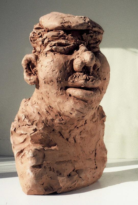 The drunkard, sculpture, terracotta, big heads