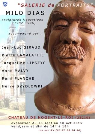 """affiche de l'Exposition """"Galerie de Portraits""""au Château de Nogent-le-Roi"""