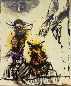 Peinture d'Art Singulier réalisée par Stani Nitkowski, probablement en 1989.