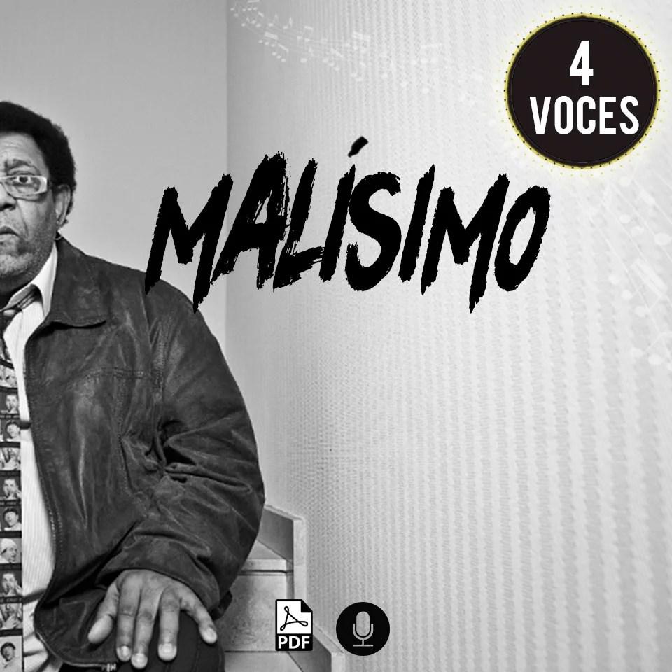 Partitura coral de Rubén Rada Malísimo a 4 voces SATB por Milo Lagomarsino