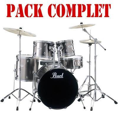 pack complet batterie acoustique forum fz fusion 20 smoky chrome 705cc 21 avec cymbales pearl