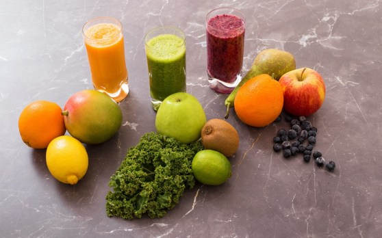 Three different smoothies with their ingredients