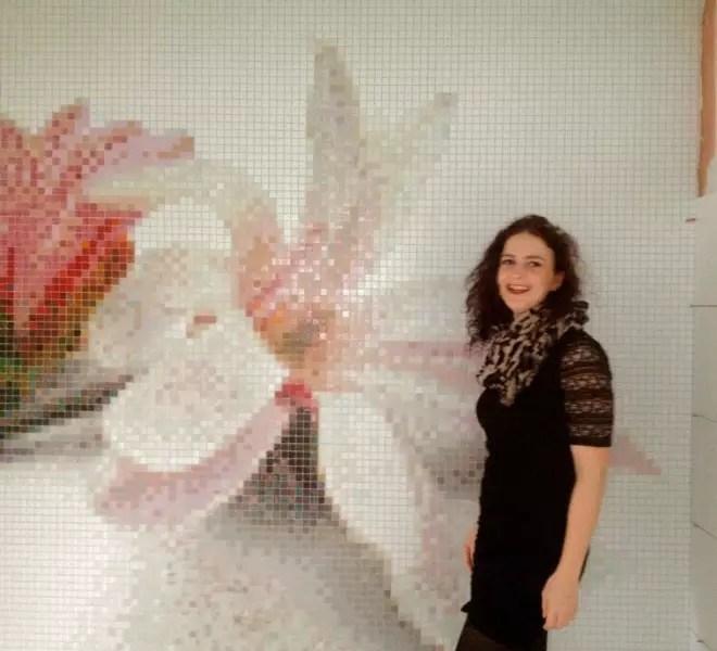 bloemen bloem glasmozaïek wit roze