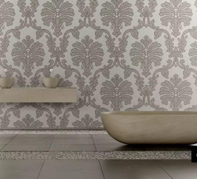 glasmozaiek badkamer patroon Baroque van Milovito wit zalm