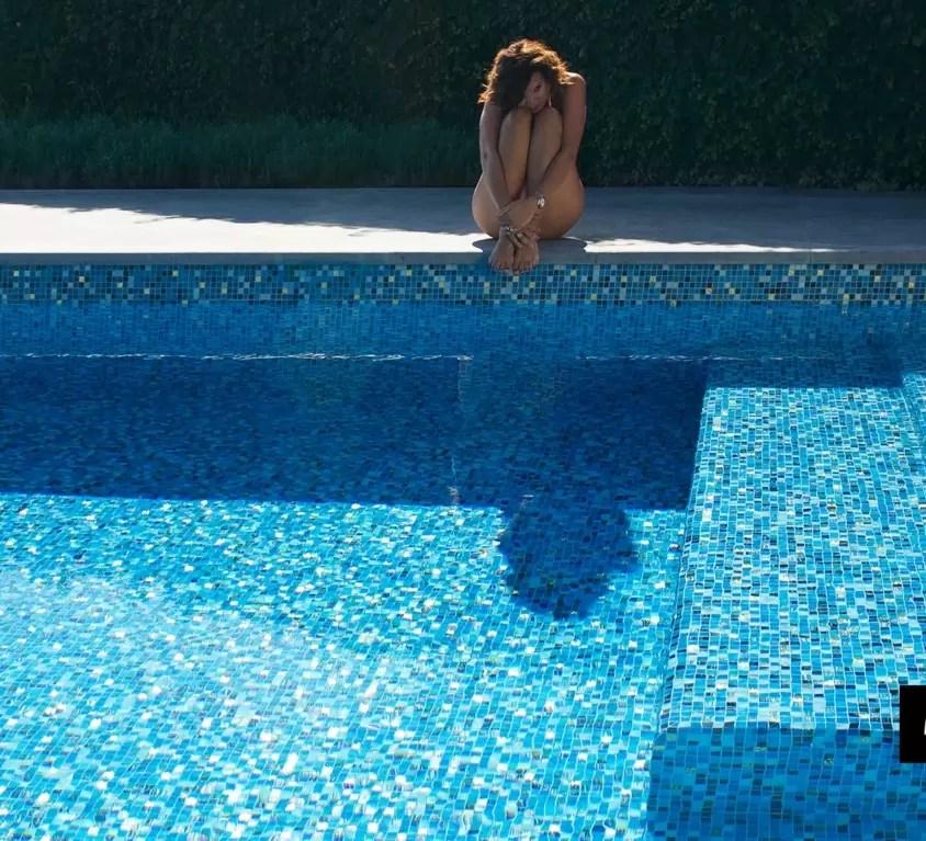 Zwembad met blauwmix