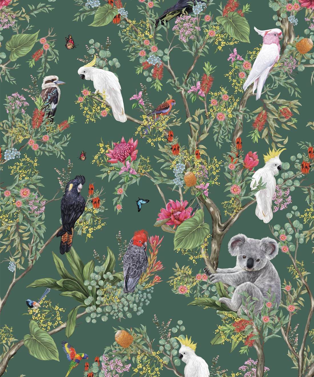 Australia Wallpaper Koalas And Cockatoos Milton King Uk