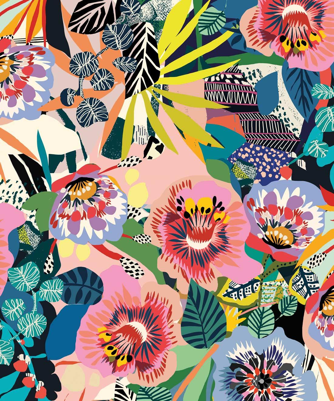 Summer Garden Bold Whimsical Floral Wallpaper Milton King