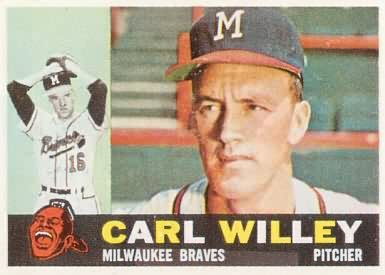 Carlton Willey pictured on his 1960 Topps baseball card.