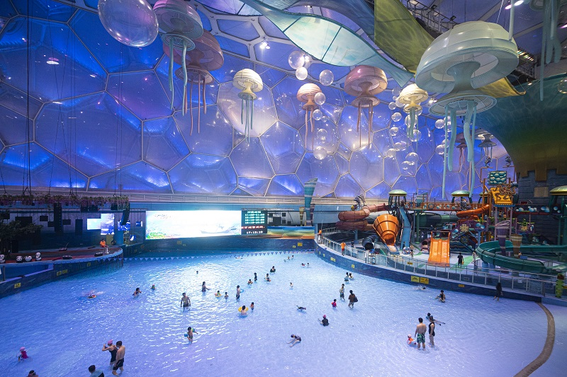 Interior view of the Water Cube