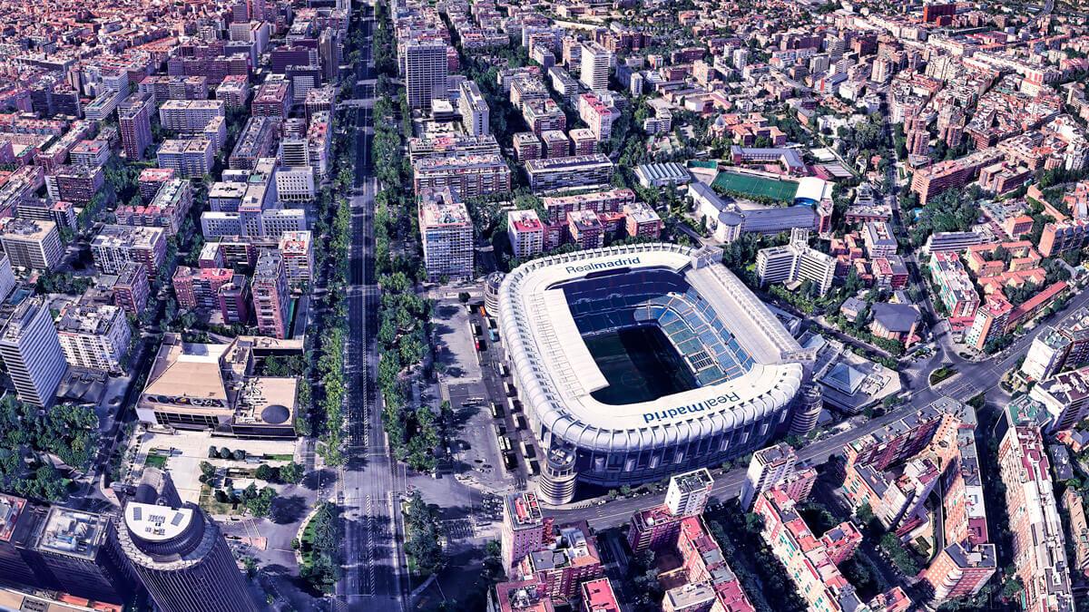 Fotografía aérea del Estadio Santiago Bernabéu