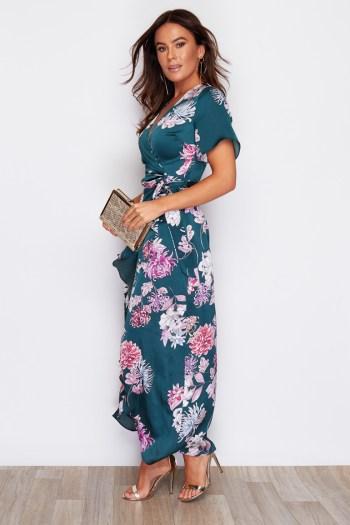 Green Print Split Hem Frill Detail Maxi Dress