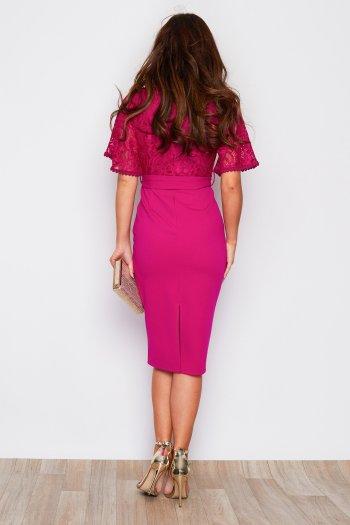 Lace Detail V Neck Tie Waist Midi Pink