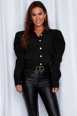 Hally Puff Sleeves Shirt Black